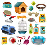 Pet Care Elements Set. Isolated pet care accessory images set with wooden kennel dog-lead toys brushes and preserved food vector illustration Royalty Free Stock Photos