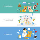 Pet care flat design. Illustration - pet products. grooming and healthcare banner Royalty Free Stock Photos