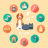 Pet care flat icon set. Pet care banner, background, poster, concept. Flat design. Vector Stock Photos