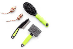 Pet care and grooming tools with brushes on white background top view space for text Stock Photo