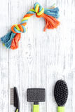 Pet care and grooming tools with brushes on white wooden background top view space for text Royalty Free Stock Image