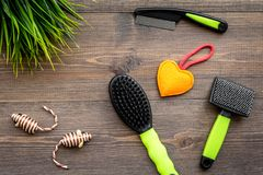 Pet care and grooming tools with brushes on wooden background top view Royalty Free Stock Image