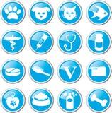 Pet care icon set. Blue round pet care icon set Royalty Free Stock Photo