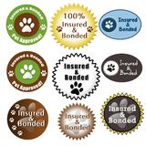 Pet Care Insured and Bonded Seals. A collection of pet care related insurance seals Royalty Free Stock Image