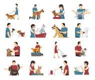 Pet Care People Set stock illustration