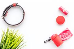Pet care and red grooming tools on white background top view space for text Stock Image