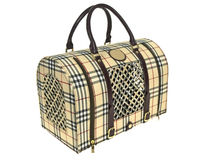 Pet carrier. Plaid classic pet carrier on white background Stock Images