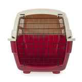 Pet carrier. Isolated on a white background stock photo