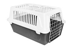Pet carrier. Isolated on white Royalty Free Stock Photography