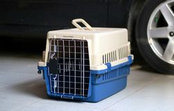 Pet Carrier. For cat or small dog stock images