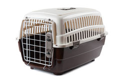 Pet carrier. Pet travel plastic carrier isolated on white Stock Photography