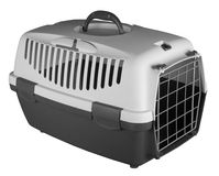 Pet carrier for traveling. Isolated on white background Stock Image