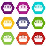 Pet carry case icon set color hexahedron. Pet carry case icon set many color hexahedron isolated on white vector illustration Stock Image