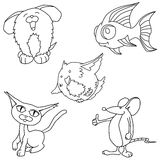 Pet cartoon line art Stock Photo