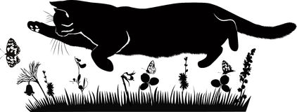 Pet cat catches butterflies. In the meadow royalty free illustration