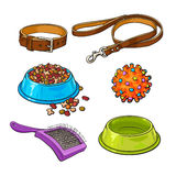 Pet, cat, dog accessories - bowl, collar, leash, rubber ball, hairbrush Royalty Free Stock Photos