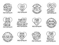 Pet cat and dog vector domestic insignia silhouette veterinary medical refuge shelter center for homeless pets animal. Element. Collection service dog and cat Royalty Free Stock Images