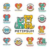 Pet cat and dog vector domestic insignia silhouette veterinary medical refuge shelter center for homeless pets animal. Element. Collection service dog and cat Royalty Free Stock Photography