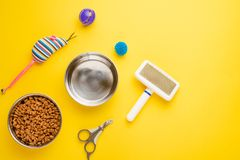 Pet, cat, food and accessories of cat life flat lay, with space for design, on yellow background royalty free stock photos