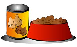 Pet Cat Food Can Bowl Clip Art. A simple pet food graphic illustrating a can of cat food beside a bowl Royalty Free Stock Image