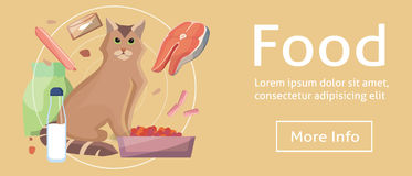 Pet cat food. Cat with cat foods concept on banners. flat design eps10. Vector. Cartoon illustration. Pet cat food. Cat with cat foods concept on flat banners Royalty Free Stock Photos
