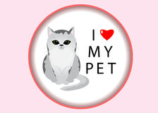 Pet. A cat in a frame and the phrase I love my pet with heart Stock Photography
