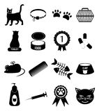 Pet cat icons set Royalty Free Stock Photography