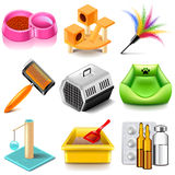 Pet cat icons vector set Royalty Free Stock Photography
