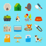 Pet cat toys and food icons Royalty Free Stock Photos