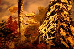 Pet Cemetary. My original oil painting. Into the forest you go and come upon this abandoned cold cemetary int he late fall. There is ice and snow. You stumble royalty free illustration
