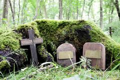 Pet cemetery in a woodland