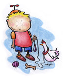 Pet Chicken. A young boy receives a pet. Just not the one he wanted. Art marker on vellum Royalty Free Stock Photo