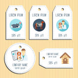 Pet clinic discount gift tags. Ready to use. Flat design. Vector Stock Photo