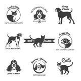 Pet club, dog center, veterinary clinic logos Stock Photography