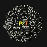 Pet colorful gradient with line icons set. Stroke Stock Images