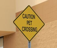 Pet Crossing Caution Sign Royalty Free Stock Photos