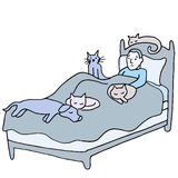 Pet Crowded Bed Stock Photography