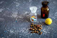 Pet cure concept. Pills and animal feed on grey stone background top view copyspace Royalty Free Stock Photo