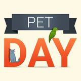 Pet day concept background, cartoon style stock illustration