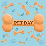 Pet day dog bone concept background, cartoon style stock illustration