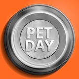 Pet day metal plate concept background, cartoon style vector illustration