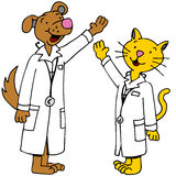 Pet Doctors Arms Raised. An image of cat and dog doctors with arms raised Stock Photo