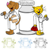 Pet Doctors with Medication. An image of cat and dog doctors next to a bottle of medicine royalty free illustration