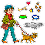 Pet dog. Boy walking with his dog plus set of items related to pet dogs Royalty Free Stock Photo