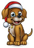 Cartoon Christmas Pet Dog. A pet dog cartoon character wearing a Christmas Santa Claus hat Stock Images