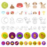 Pet dog cartoon icons in set collection for design. Caring for the puppy vector symbol stock web illustration. Pet dog cartoon icons in set collection for vector illustration