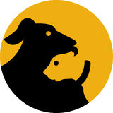 Pet dog and cat silhouette icon Royalty Free Stock Photos