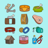 Pet dog doodle icons Stock Images