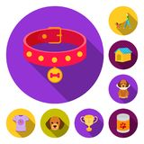 Pet dog flat icons in set collection for design. Caring for the puppy vector symbol stock web illustration. Pet dog flat icons in set collection for design Royalty Free Stock Photos