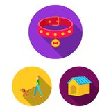 Pet dog flat icons in set collection for design. Caring for the puppy vector symbol stock web illustration. Pet dog flat icons in set collection for design Royalty Free Stock Image
